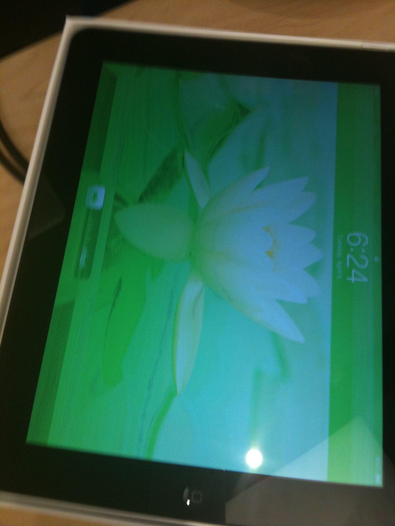 iPad зеленый экран